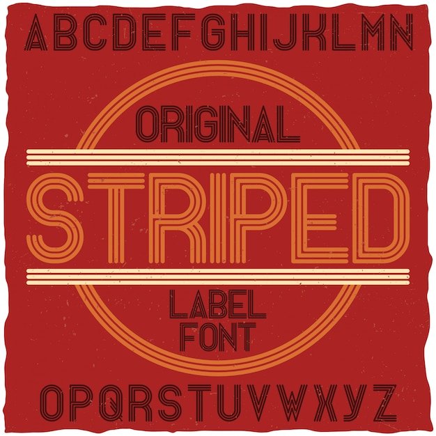 ストライプヴィンテージラベルタイプフェイス。ポスター、見出し、レトロなスタイルのグラフィックデザインに最適です。 無料ベクター
