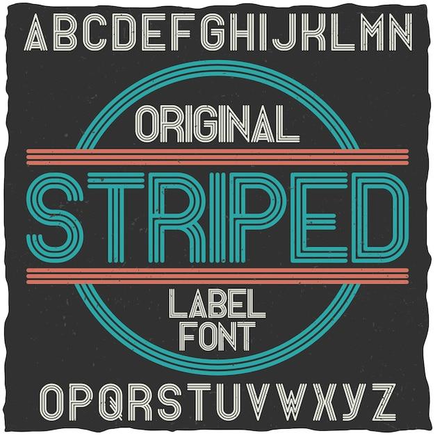 Carattere tipografico vintage a strisce. Vettore gratuito