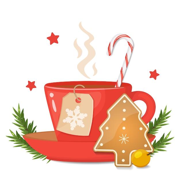 Красная чашка с печеньем сформированным рождественской елкой, striped тросточкой леденца и ярлыком рождества с снежинкой. векторная иллюстрация Premium векторы