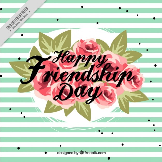 Free Vector Stripes Background With Flowers Of Friendship Day
