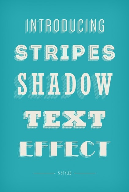 Stripes shadow text effect Free Vector