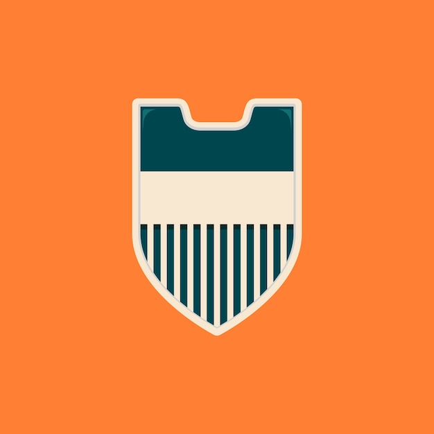 Stripes Simple Blank Shield Badge Template In Vintage Color Premium Vector