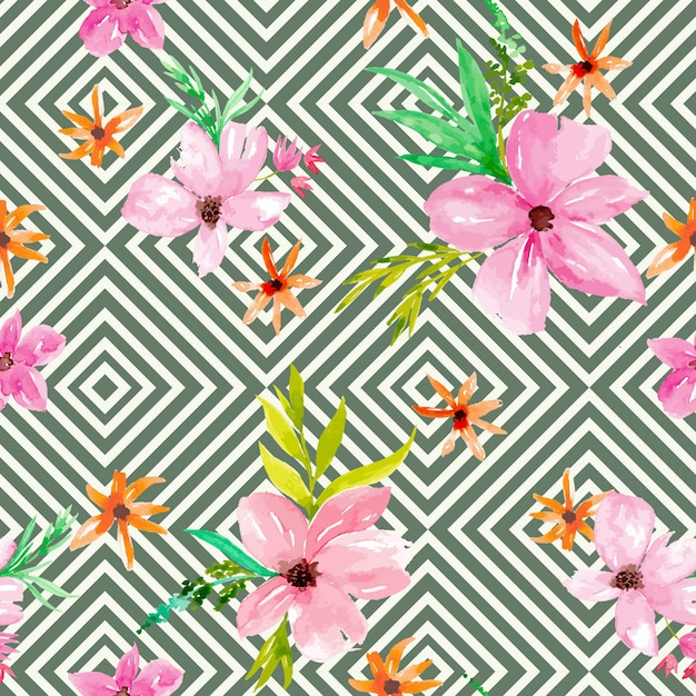 Stripes and watercolor floral seamless pattern Premium Vector