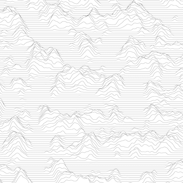 Stripped background with wavy lines making mountains Free Vector