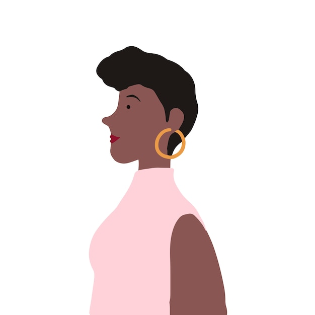 Strong african american female in profile vector Free Vector