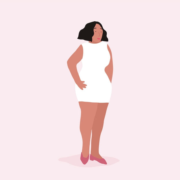 Strong african american woman full body vector Free Vector