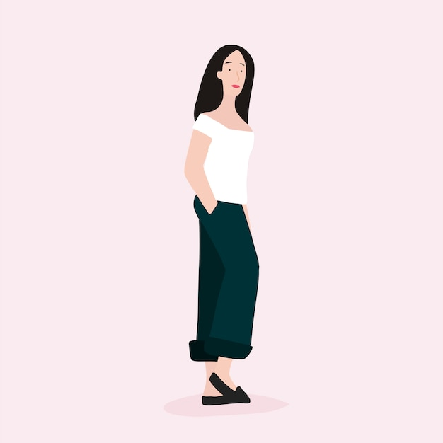 Strong asian woman full body vector Free Vector