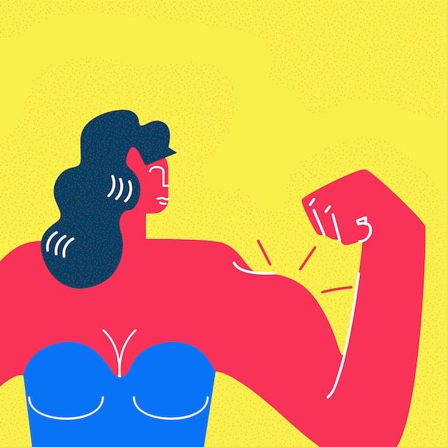 Strong beautiful woman cartoon  character Premium Vector
