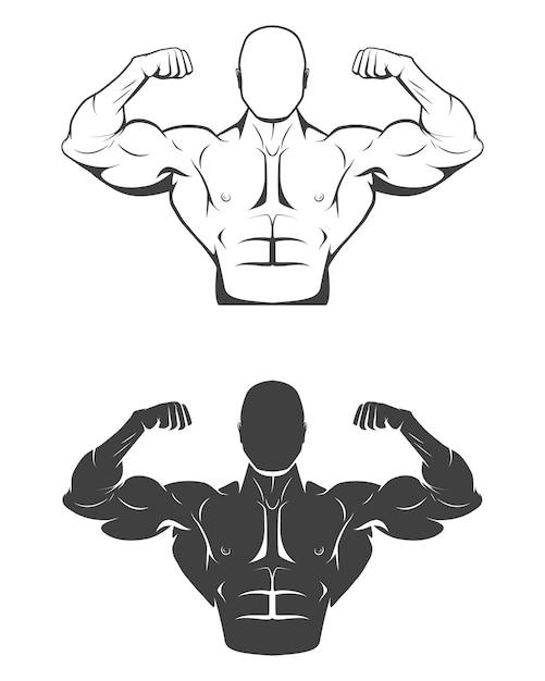 완벽한 복근, 어깨, 팔뚝, 삼두근 및 가슴이 근육을 구부리는 강력한 보디 빌더. 프리미엄 벡터