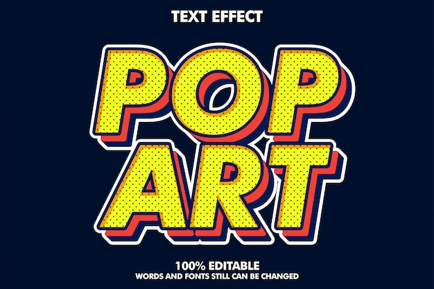 Strong bold retro pop art text effect for old style Premium Vector
