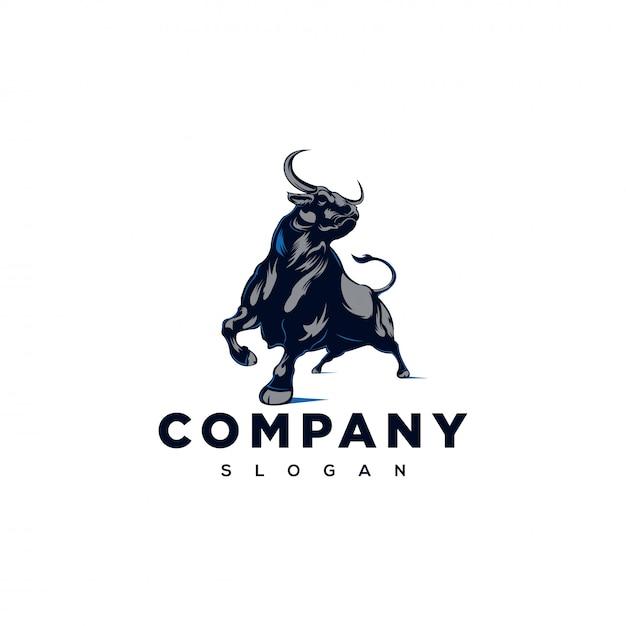Сильный логотип быка Premium векторы