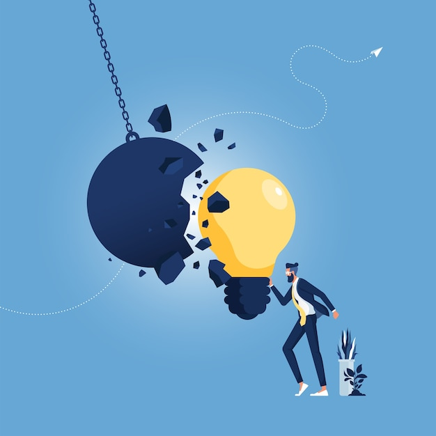 Strong creative idea metaphor and creativity strength as a wrecking ball destroyed by a light bulb Premium Vector