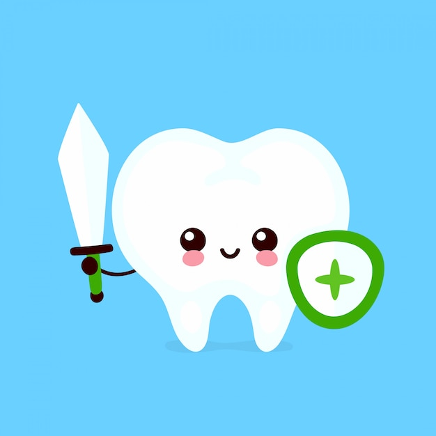 Strong cute healthy happy tooth with sword and shield character. flat cartoon illustration icon design. isolated on white background. healthy human tooth,teeth protect,dental care concept Premium Vector