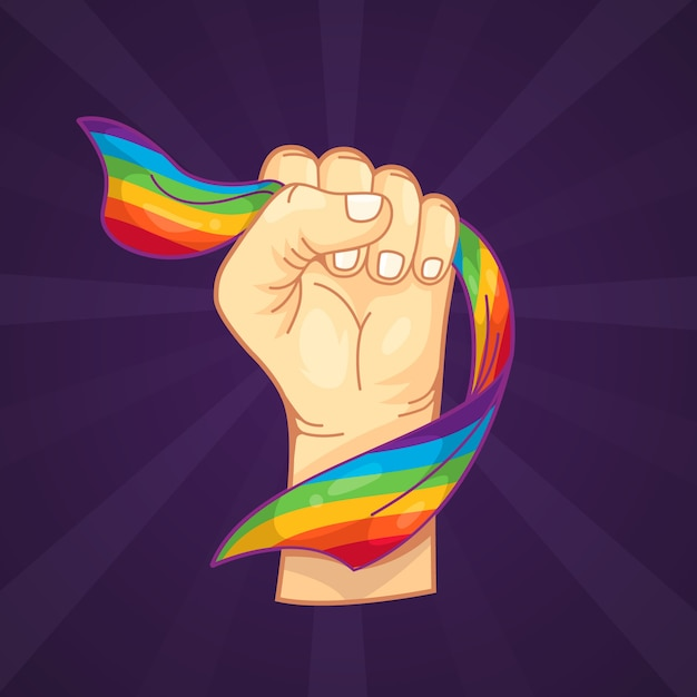 Strong fist and lgbt flag Free Vector