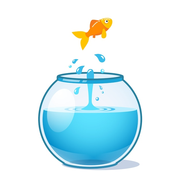 Strong goldfish jumping out of fishbowl Free Vector