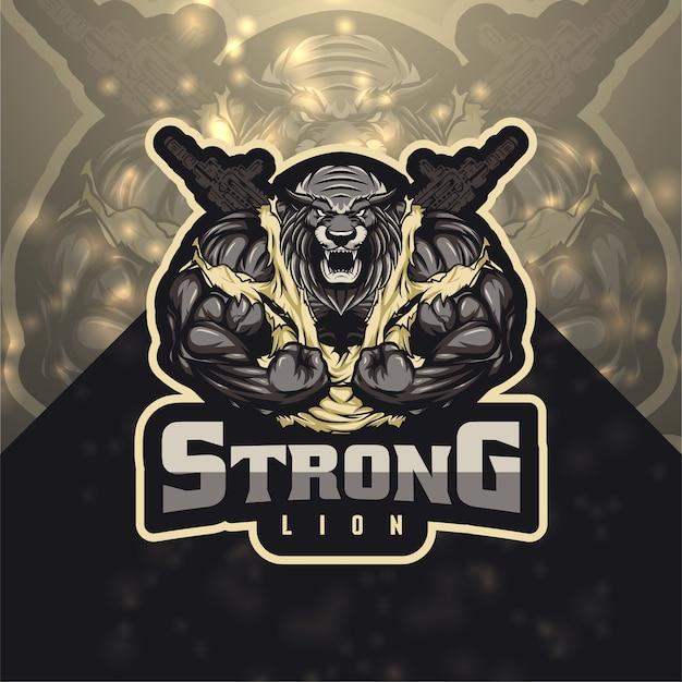 Strong lion esport logo Premium Vector