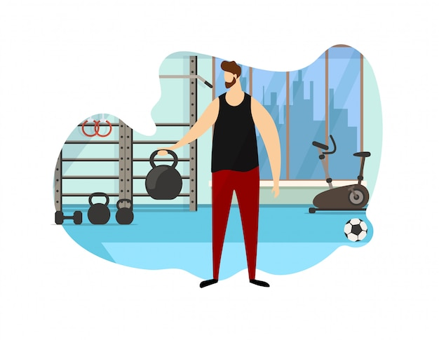 Strong male character hold dumbbell in hand icon. Premium Vector