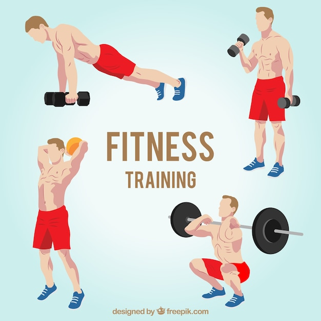 Strong man training Free Vector