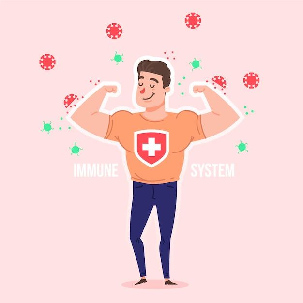 Uomo forte con un buon sistema immunitario contro i virus Vettore gratuito