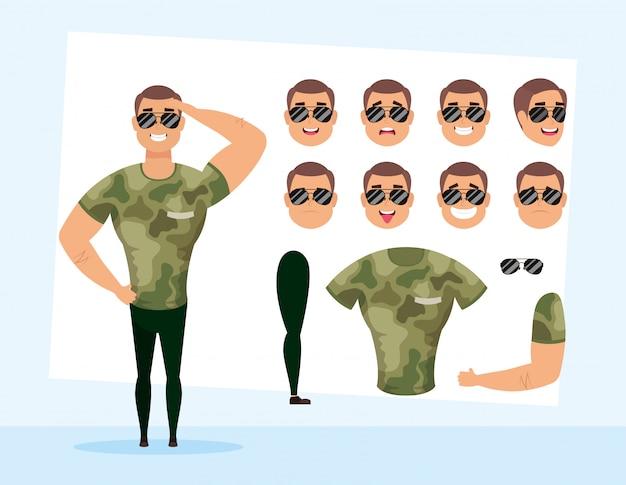 セットに強い軍人顔文字ベクトルイラストデザイン Premiumベクター