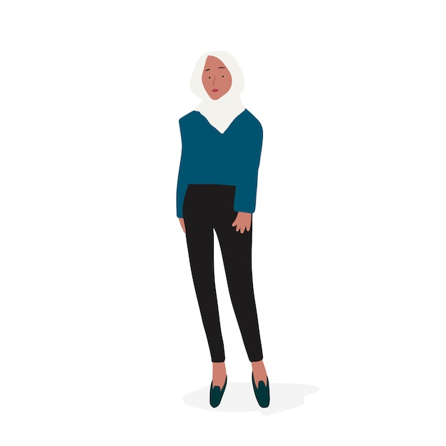 Strong muslim woman full body vector Free Vector