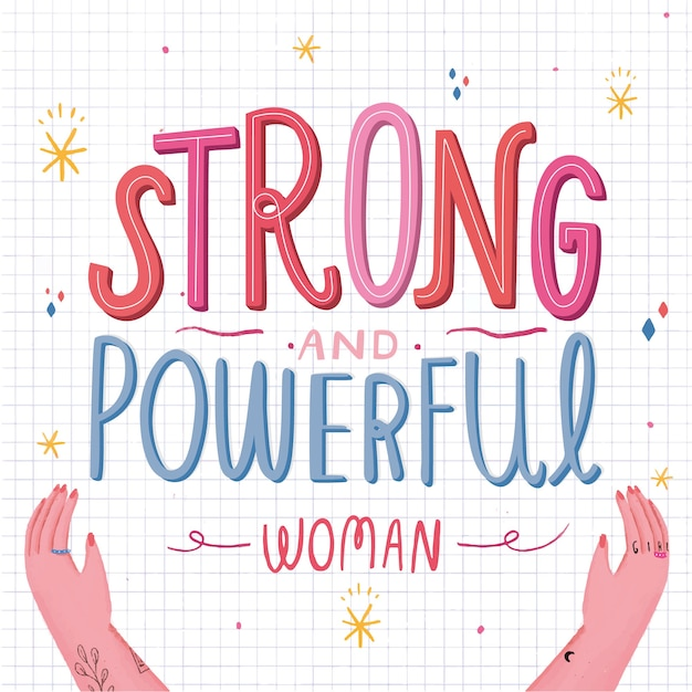 Strong and powerful woman Free Vector