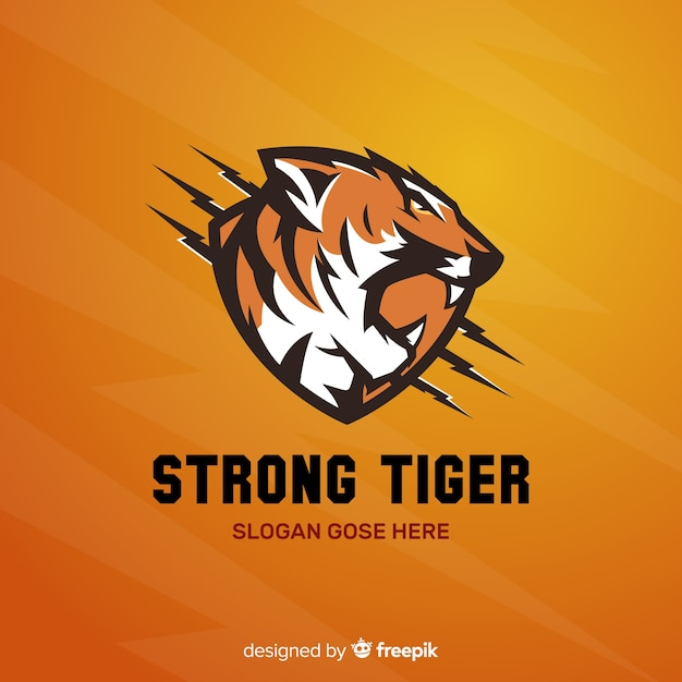 Strong tiger logo Free Vector