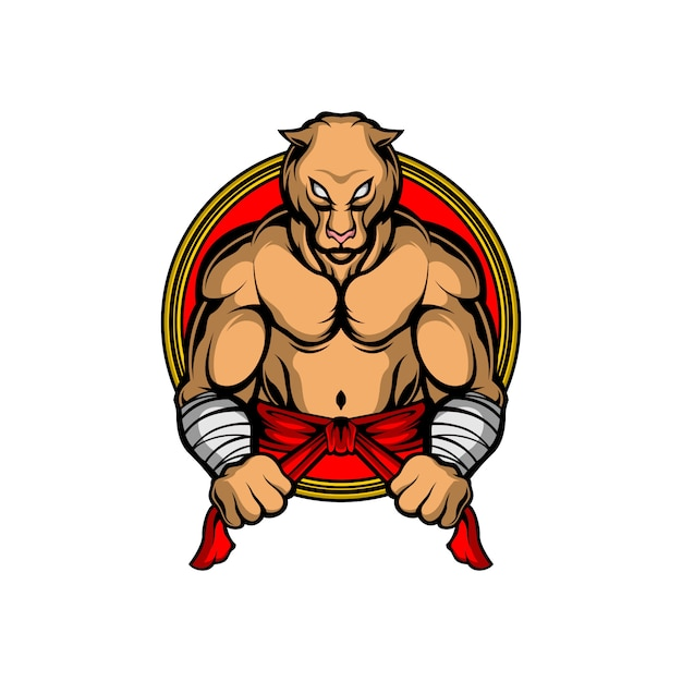 強い虎のロゴ Premiumベクター