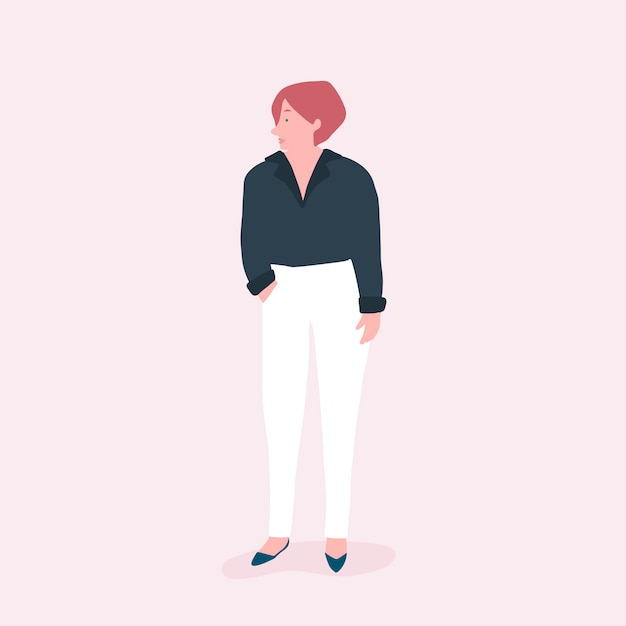 Strong woman full body vector Free Vector