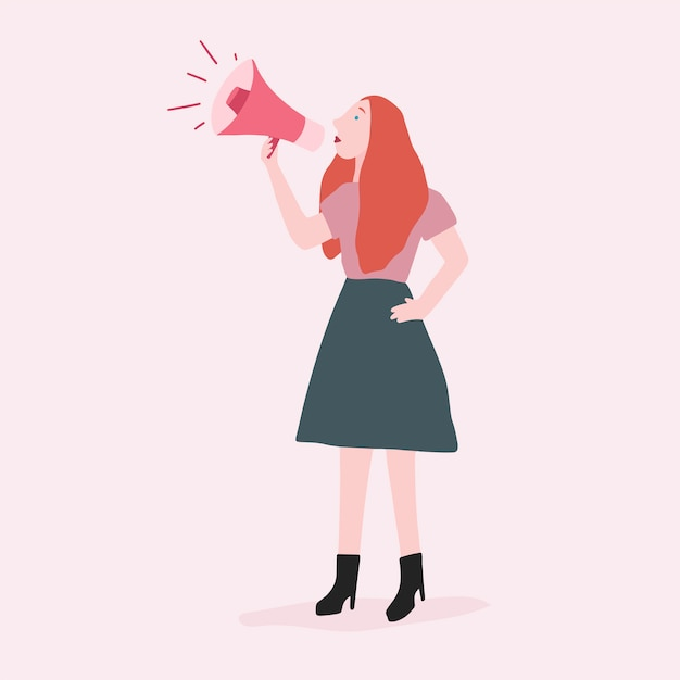 Strong woman shouting out her message vector Free Vector