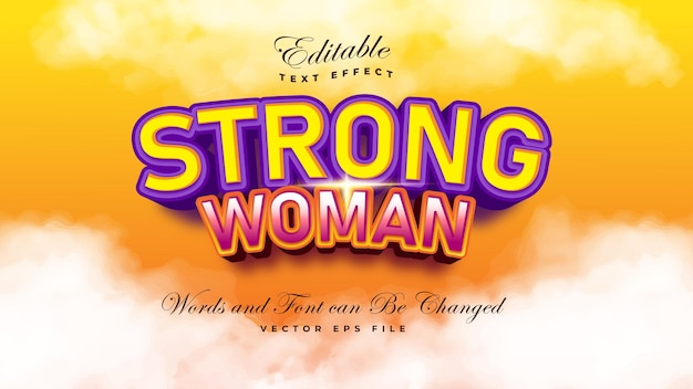 Strong woman text effect Free Vector