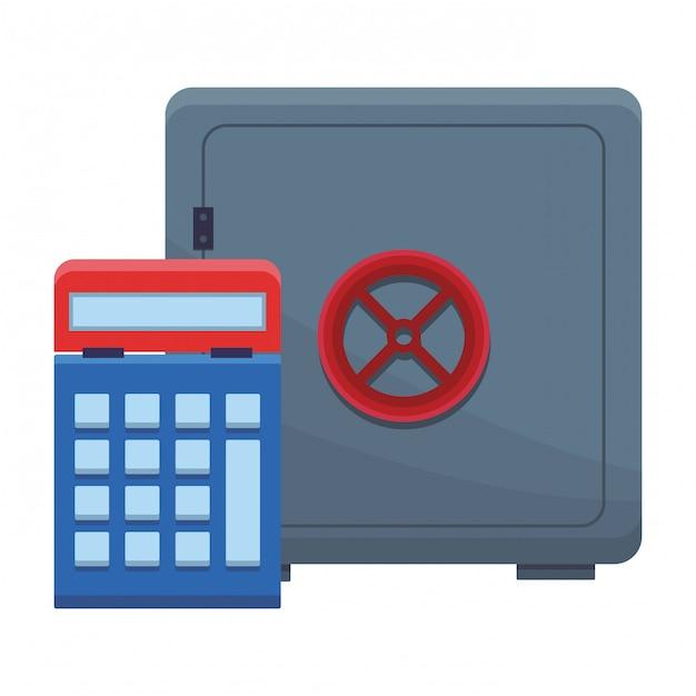 Strongbox with calculator Premium Vector