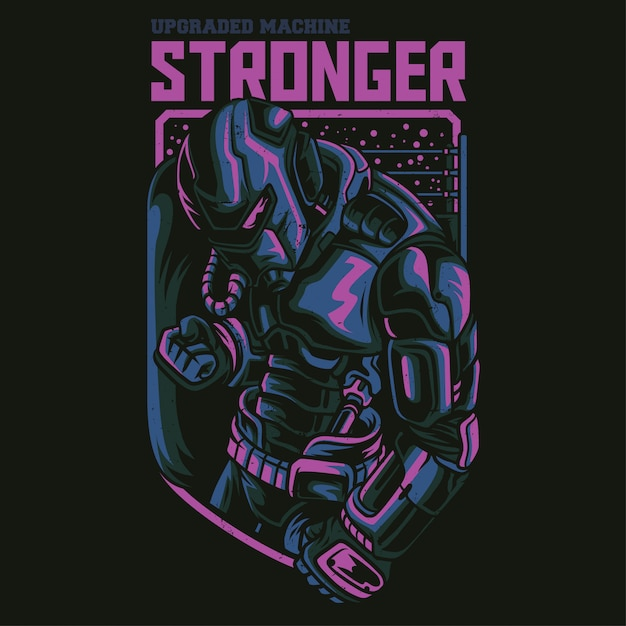 Stronger robot illustration Premium Vector
