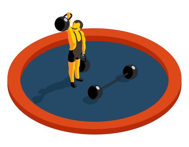 Силач, поднимающий вес. плоский 3d изометрический вектор. сила мускулов, спорт и штанга, художник-мужчина, иллюстрация спортсмена по тяжелой атлетике Бесплатные векторы