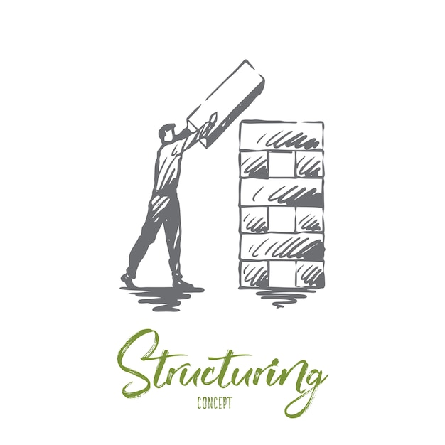 Structuring, element, organization, corporate concept. hand drawn man organizing structure concept sketch. Premium Vector