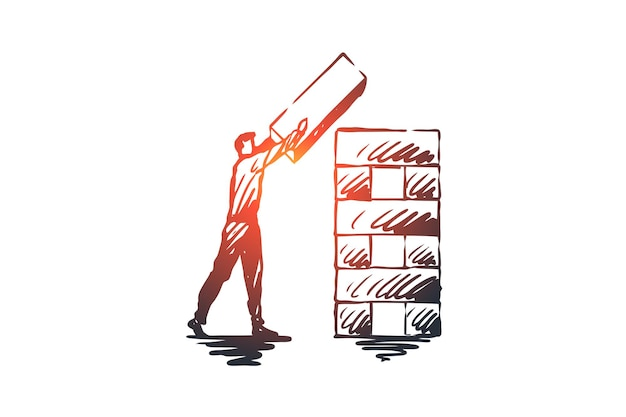 Structuring, element, organization, corporate concept. hand drawn man organizing structure concept sketch. Premium Vector