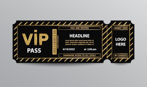 Stub vip pass ticket stub with glittering elements Premium Vector