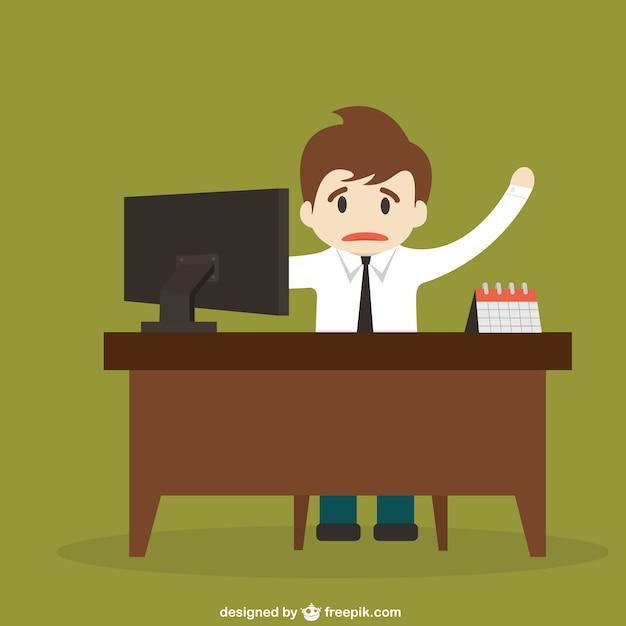 Stuck Behind A Desk Cartoon Free Vector