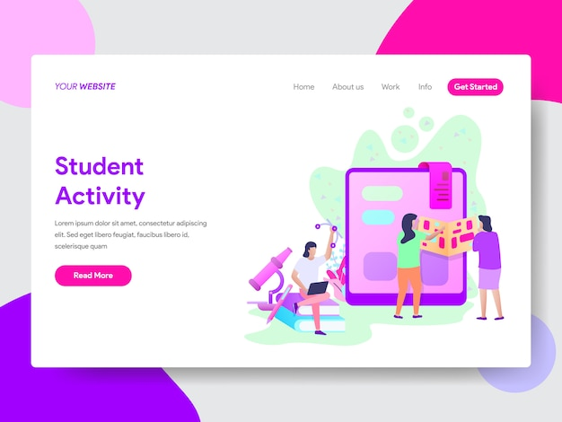 Student activity illustration for web pages Premium Vector