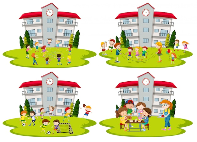 Student activity at school Free Vector