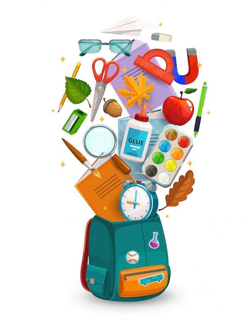 Студенческая сумка со школьными или учебными принадлежностями Premium векторы
