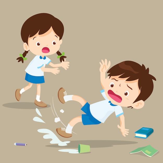 Студент мальчик падает на мокрый пол Premium векторы