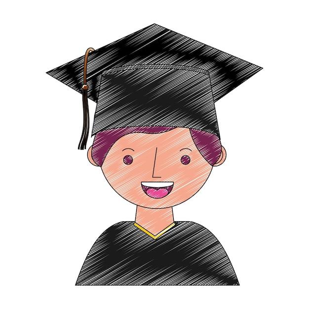 Student boy graduated avatar character Premium Vector