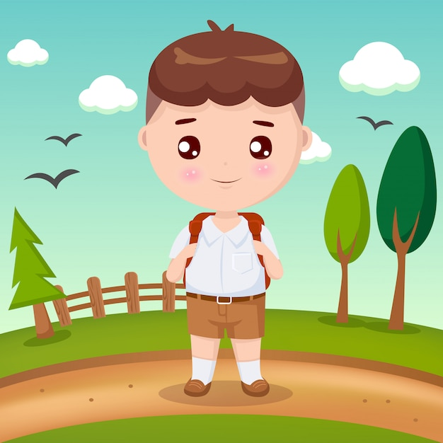 Student boy with brown hair Premium Vector