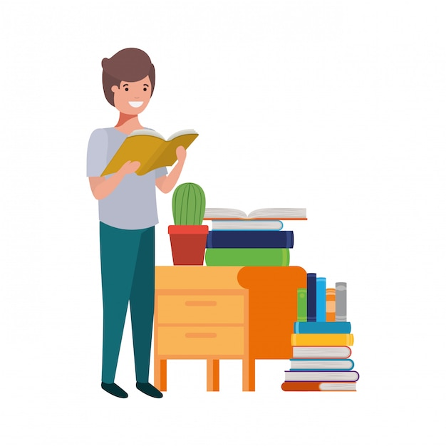 Student boy with reading book in the hands Free Vector