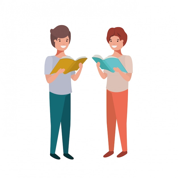 Student boys with reading book in the hands Free Vector