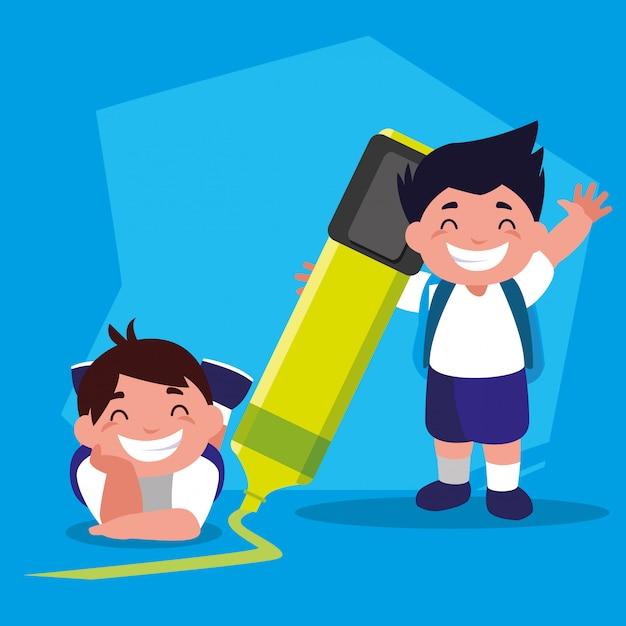 Student boys with school supplies, back to school Premium Vector