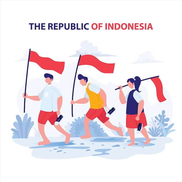 Student carry flag for independence day indonesia Premium Vector