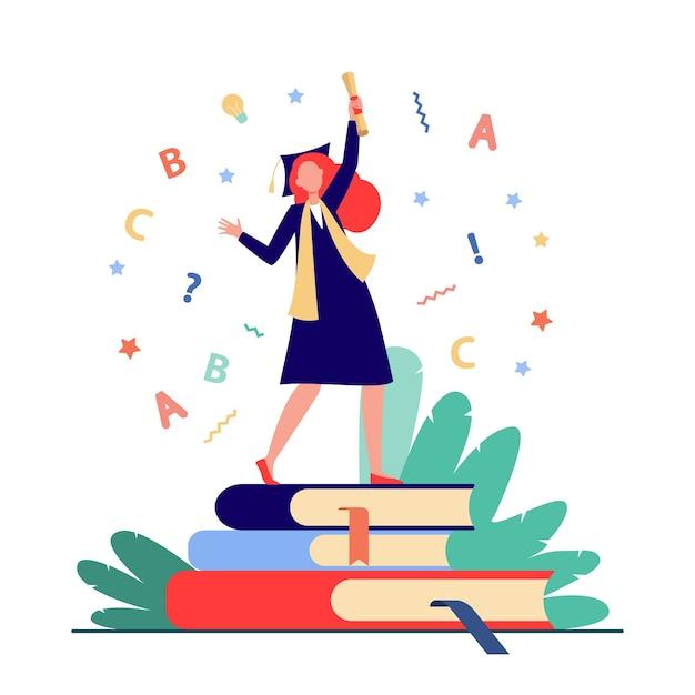 Студент празднует выпускной. девушка в платье и кепке с дипломом танцует на плоской векторной иллюстрации книг. выпускник, образование, колледж Бесплатные векторы