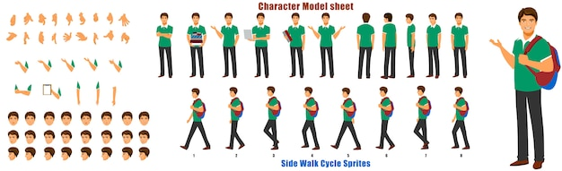 Student character model sheet with walk cycle animation sequence Premium Vector